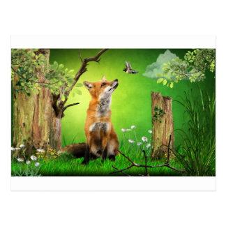 renard et l'oiseau de ronflement cartes postales