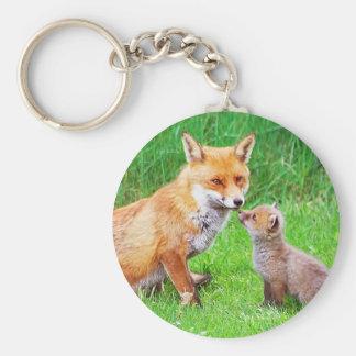 Renard et petit animal de mère porte-clé rond