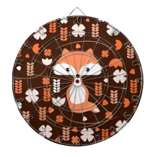 Renard, fleurs et feuille mignons dans l'orange jeux de fléchettes