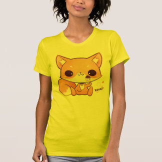 Renard mignon de chibi avec la glace de kawaii t-shirts