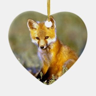 renard rouge de petit bébé mignon ornement cœur en céramique