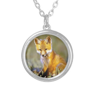 renard rouge de petit bébé mignon pendentif rond