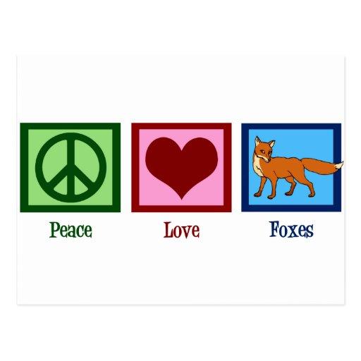 Renards d'amour de paix carte postale