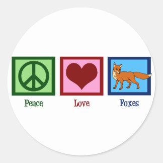 Renards d'amour de paix sticker rond