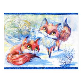 Renards d'hiver cartes postales