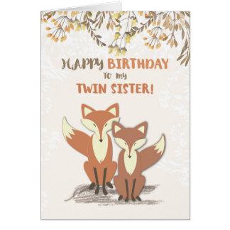 Renards jumeaux d'anniversaire de soeur, feuille cartes