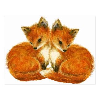 Renards jumeaux de bébé cartes postales