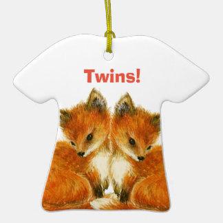 Renards jumeaux de bébé décoration pour sapin de noël