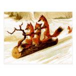 Renards Sledding par la neige sur un rondin Cartes Postales