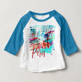 Rencontrez-moi dans l'aquarelle de Tour Eiffel de T-shirt Pour Bébé