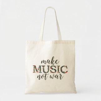 Rendez la guerre de musique pas florale sacs en toile