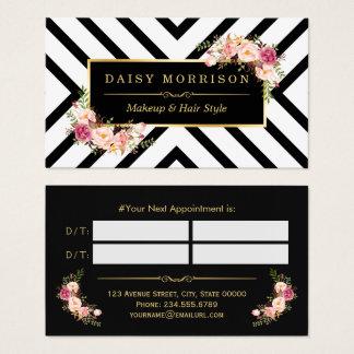 Rendez-vous floral d'or de salon de beauté de cartes de visite