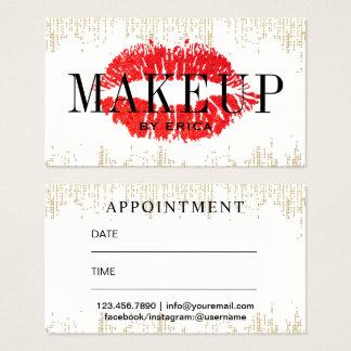 Rendez-vous moderne de salon de maquilleur rouge cartes de visite