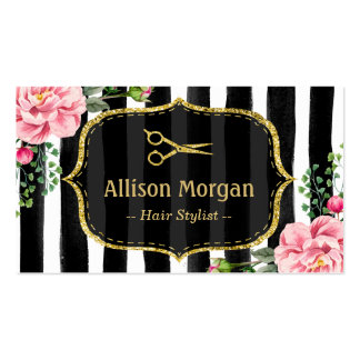 Rendez-vous rayé floral vintage de coiffeur carte de visite standard