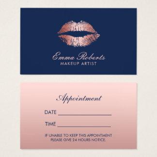 Rendez-vous rose de bleu marine de lèvres d'or de cartes de visite