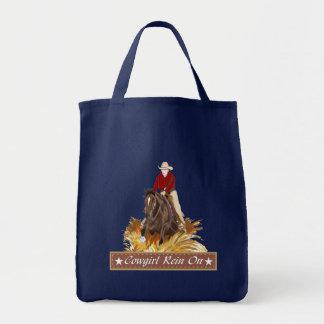 Rêne de cow-girl sur le sac fourre-tout à épicerie