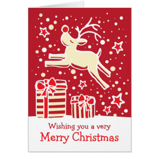 Renne caracolant au-dessus de la carte de Noël