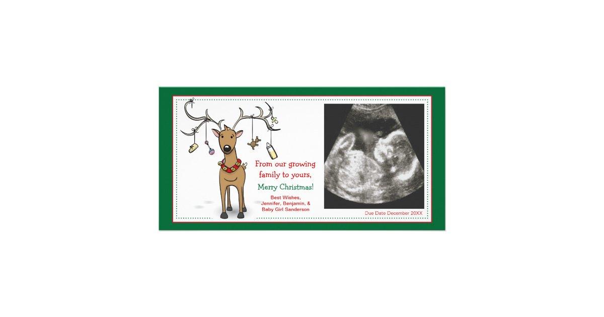 Renne d 39 annonce de grossesse de carte de no l mod le pour photocarte zazzle - Modele de carte de noel ...
