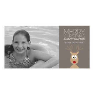 Renne de bande dessinée avec le Joyeux Noël et la Cartes De Vœux Avec Photo