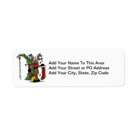 Renne de Joyeux Noël Étiquette D'adresse Retour