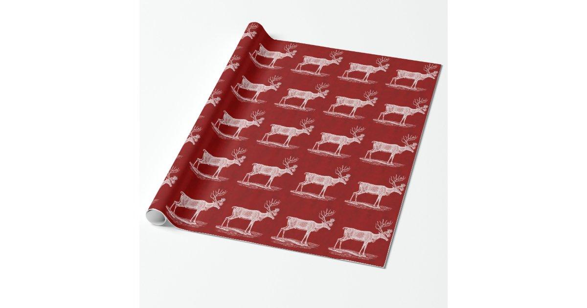 Renne de no l sur la couleur cramoisie rouge de papiers cadeaux no l zazzle - Papier cadeau personnalisable ...