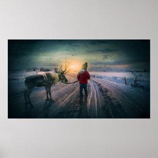 renne d'hiver et copie surréaliste de Noël Posters