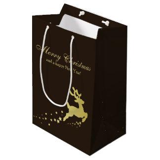 Renne d'or de Noël - sac moyen de cadeau
