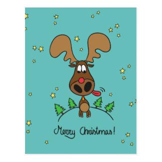 Renne drôle de Noël Cartes Postales