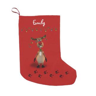 Renne flairé rouge de Noël drôle - bas Petite Chaussette De Noël