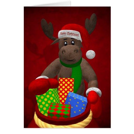 Renne lunatique : L'aide de Père Noël Cartes De Vœux