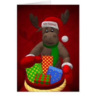 Renne lunatique : L'aide de Père Noël Carte De Vœux
