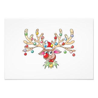 Renne mignon de Rudolf avec des cartes de lumières Photos D'art