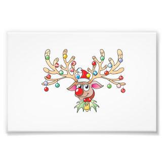 Renne mignon de Rudolf avec des cartes de lumières Impression Photographique