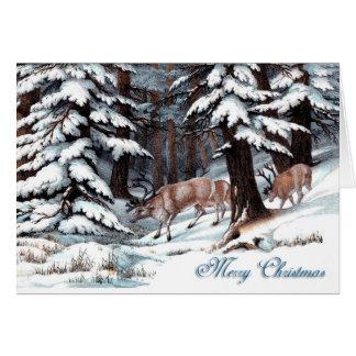 Renne vintage dans la carte de Noël de forêt de