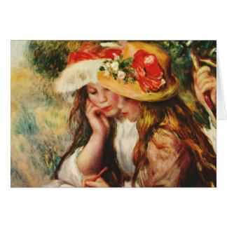 Renoir deux filles lisant dans la carte de jardin