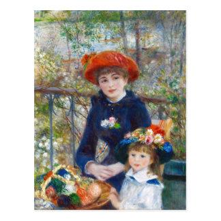 Renoir deux soeurs sur une carte postale de la