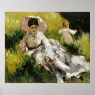Renoir, femme avec un parasol et un enfant affiche