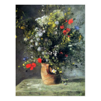 Renoir, fleurs dans une carte postale de vase