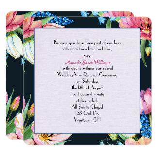 renouvellement-aquarelle de voeu de mariage carton d'invitation  13,33 cm