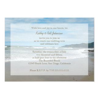 Renouvellement de voeu de mariage par la plage carton d'invitation  12,7 cm x 17,78 cm