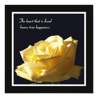Renouvellement de voeu de rose assez jaune carton d'invitation  13,33 cm