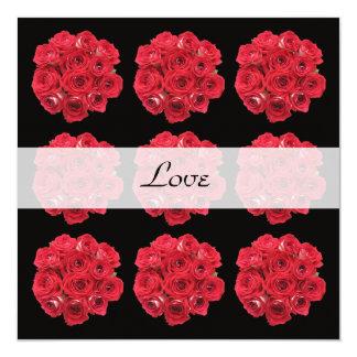 Renouvellement de voeu de roses rouges carton d'invitation  13,33 cm