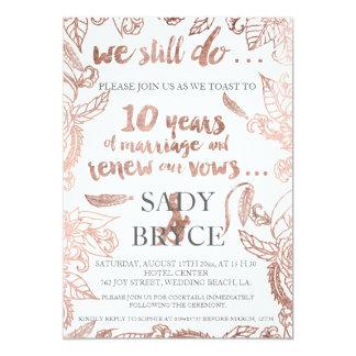 Renouvellement floral 3 de voeu d'or de boho rose carton d'invitation  12,7 cm x 17,78 cm
