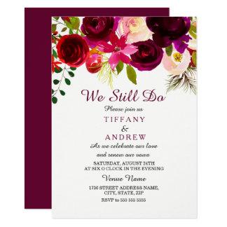 Renouvellement floral rouge de voeu de mariage de carton d'invitation  11,43 cm x 15,87 cm