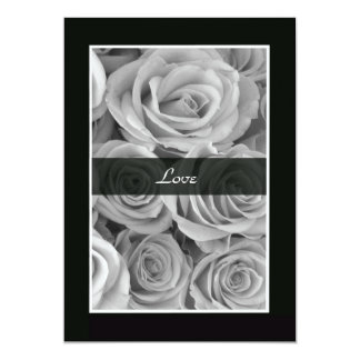 Renouvellement noir et blanc de voeu de roses carton d'invitation  12,7 cm x 17,78 cm