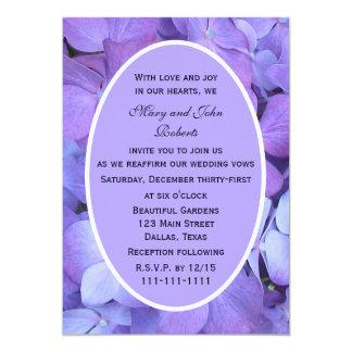 Renouvellement pourpre de voeu de fleurs carton d'invitation  12,7 cm x 17,78 cm