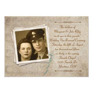Renouvellement vintage de voeu de mariage de carton d'invitation  11,43 cm x 15,87 cm