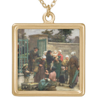 Rentrant les enfants trouvés (huile sur la toile) collier plaqué or