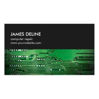 Réparation verte grise simple d'ordinateur de bord carte de visite standard