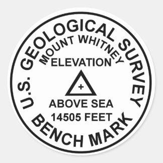 Repère de style de Mt. Whitney USGS Sticker Rond